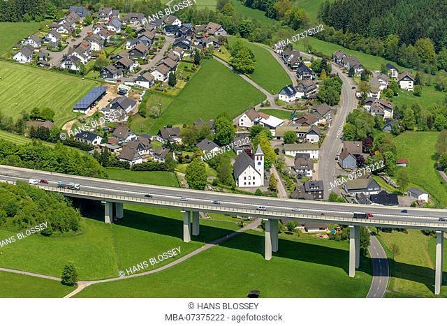 Bleche bridge on A45 Autobahn (motorway), Sauerlandlinie, aerial view of Drolshagen