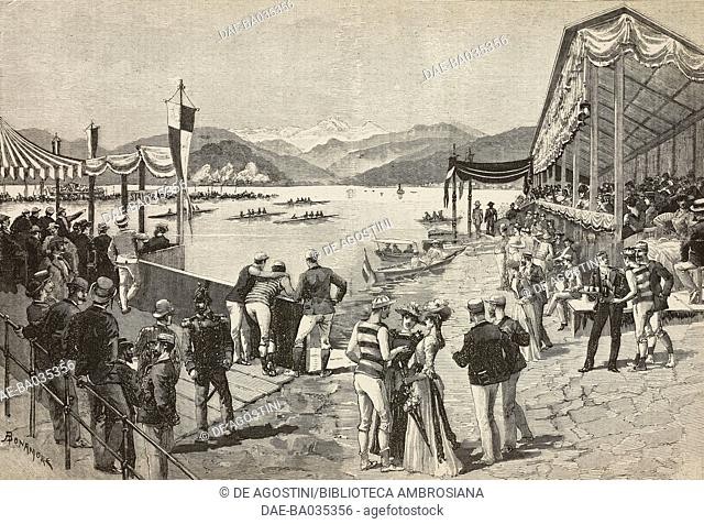 Pallanza regattas on Lake Maggiore, Italy, September 8, 1890, drawing by A Bonamore, illustration from Il Secolo Illustrato della Domenica, Year II, No 50