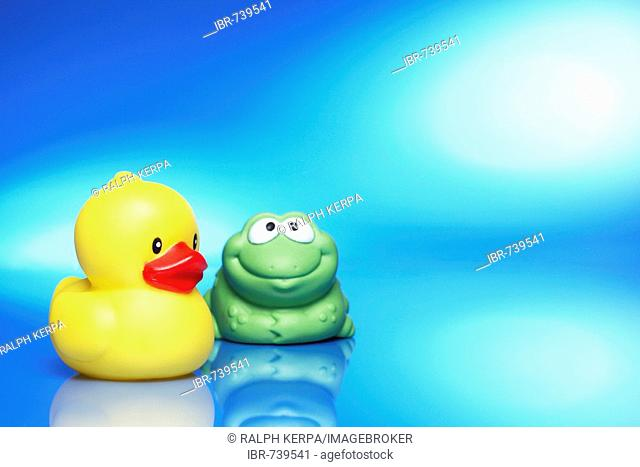 Rubber ducky and rubber frog