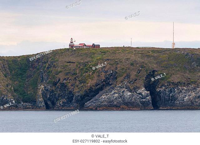 Cape Horn Lighthouse. The unmanned light station is the southernmost point of Cape Horn and is administered by the Chilean Navy
