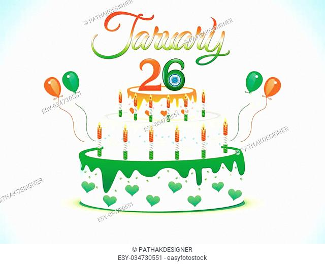 abstract artistic republic day cake vector illustration