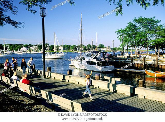 Summer boats in the harbour marina at Newburyport on the Merrimack River, Massachusetts, New England, USA