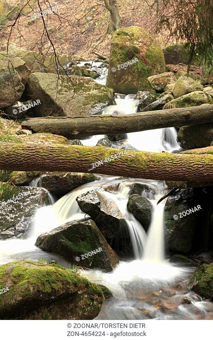 Waterfall in mountain stream Ilse in the Harz National Park, in Saxony-Anhalt / Germany, Wasserfall im Gebirgsbach Ilse, im Nationalpark Harz