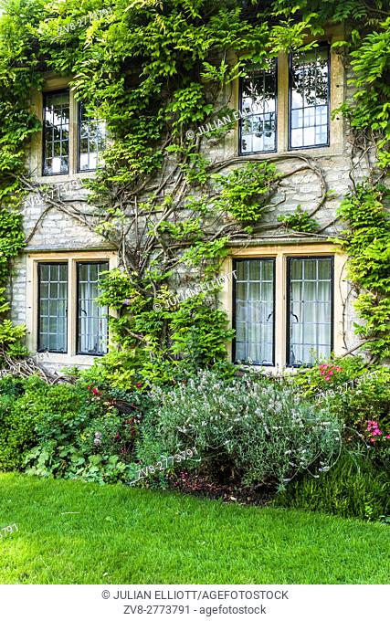 The back garden of one of the old houses in the village of Castle Combe in north Wiltshire