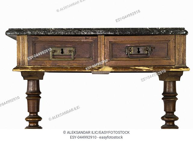 Vintage Marble Top Wooden Desk With Drawers Isolated On White Background