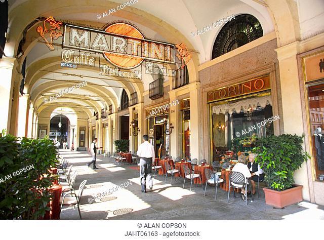 Italy Piedmont Turin (Torino) Via Roma - Piazza San Carlo Martini sign outside Caffe Torino