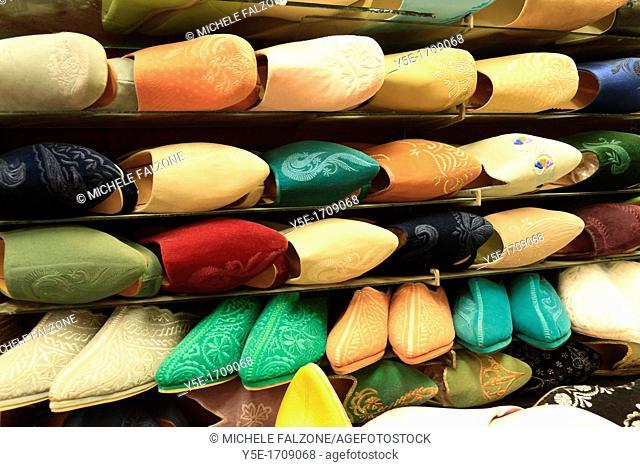 Morocco, Fes, Medina Old Town, Souk Market, slippers shop