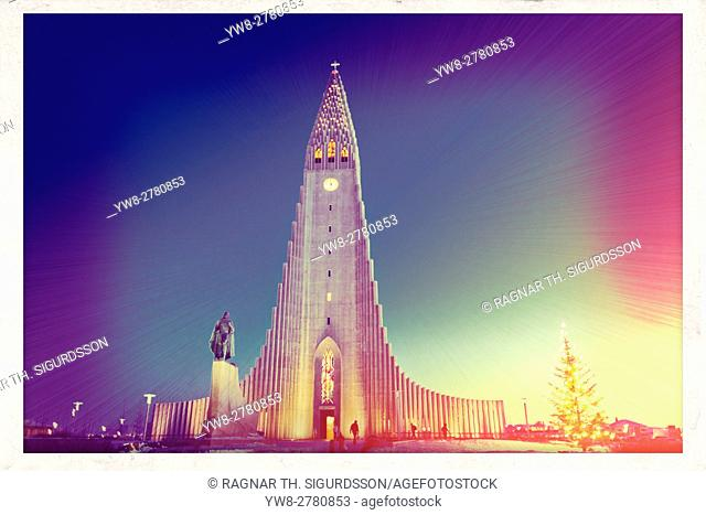 Hallgrimskirkja Church at Christmas time, Reykjavik, Iceland