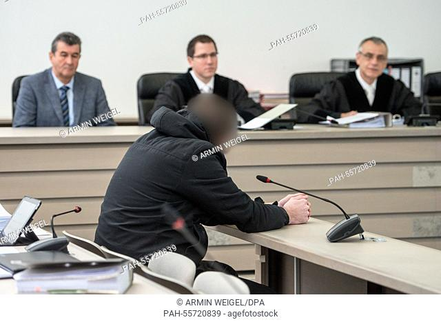 Defendant Stefan B. sits in the courtroom of the regional court inIngolstadt, Germany, 09 February 2015. The trial in the case of the sex murder of 12-year old...