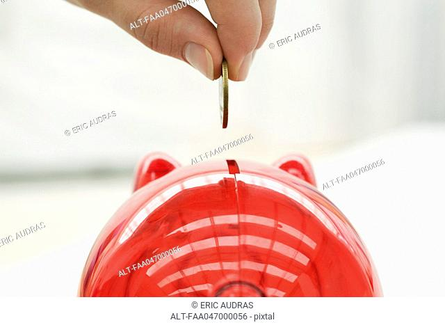 Person placing coin in piggy bank, close-up