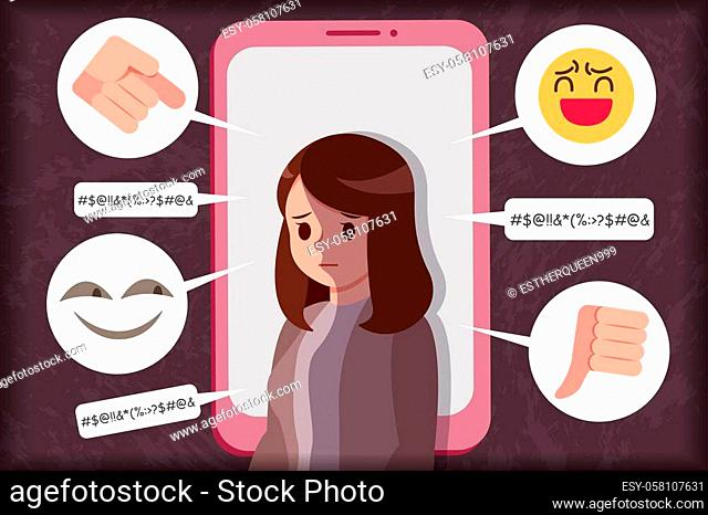 sad girl of cyber bulling by cell phone