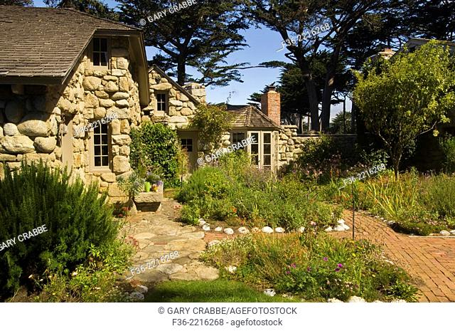 Tor House, stone cottage home of poet Robinson Jeffers, Carmel-by-the-Sea, Carmel, Monterey Peninsula, California