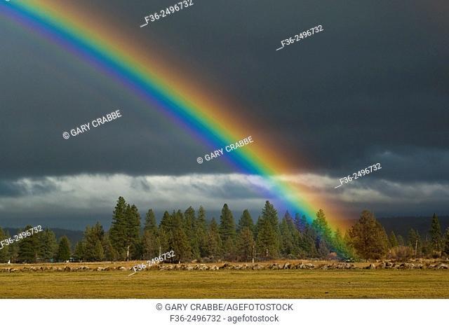 Rainbow over the Hat Creek Valley, Shasta County, California