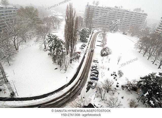 Winter landscape, street on Geneva, Switzerland, Europe