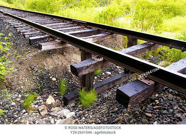 Old abandoned railroad track in north Idaho, USA