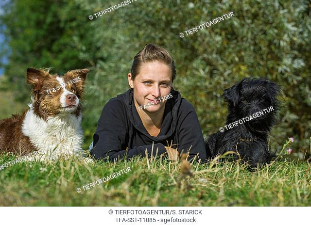 woman with 2 dogs
