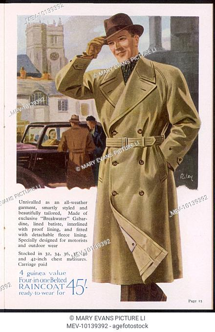 A 3/4 length Four-in-one belted, double-breasted coat in waterproof gabardine with various linings, some detachable, designed specially for motorists & outdoor...