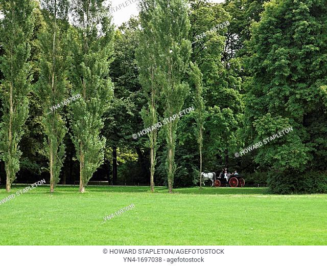A family ride through the English Garden in a horse and carriage, Munich, Germany