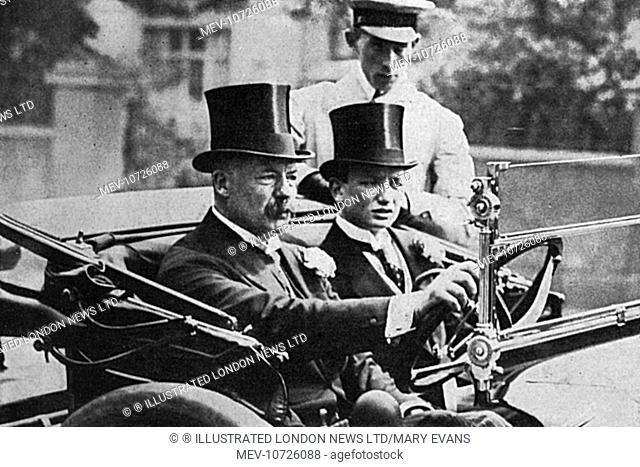 William Henry Grenfell, Lord Desborough driving himself to the traditional Eton Harrow cricket match in July 1914, accompanied by his youngest son, Ivo