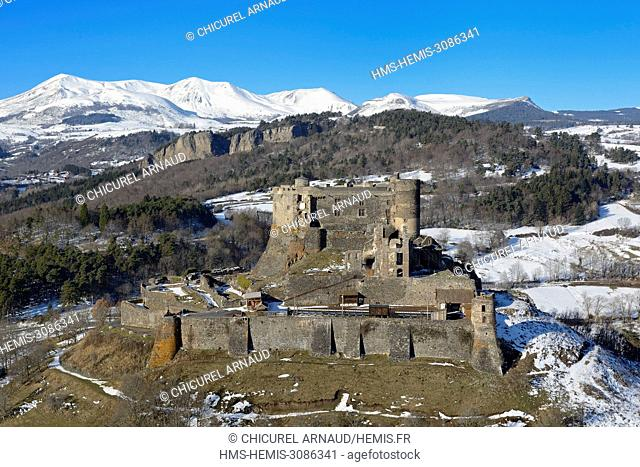 France, Puy de Dome, matural regional park of the volcanoes of Auvergne in the background (aerial view)