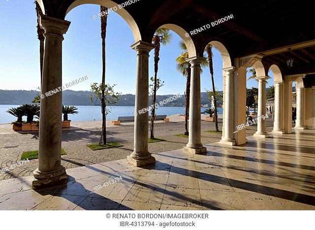 Arcades of the Palazzo della Podesta, Salo, Lake Garda, Province of Brescia, Lombardy, Italy