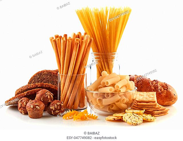 Gluten free food. Various pasta, bread and snacks isolated on white background