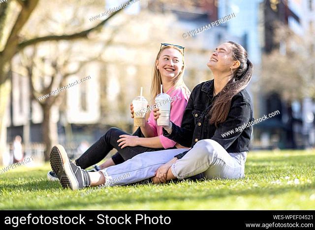 Cheerful female friends having milkshake in public park