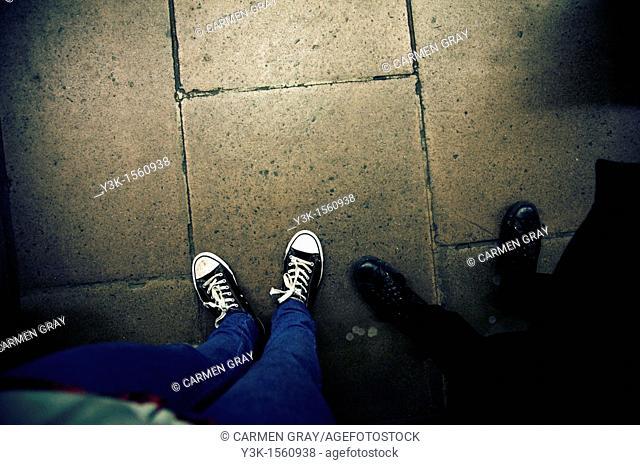Feet of a couple, London, UK