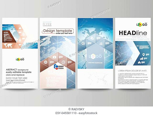 The minimalistic abstract vector illustration of the editable layout of four modern vertical banners, flyers design business templates