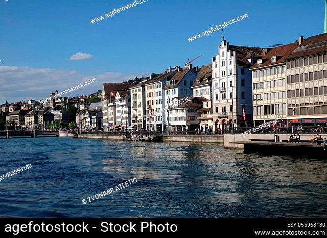 Panorama view of historic city center of Zurich, Switzerland