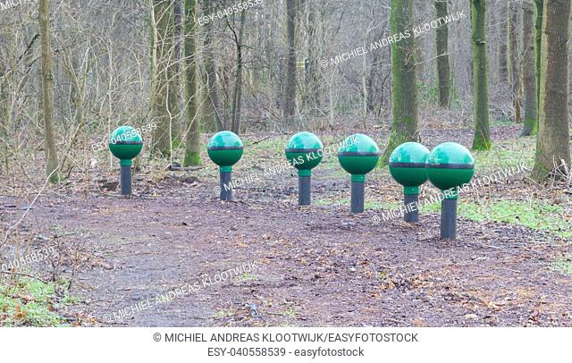 Fitness equipment in a forest - One stage of many - Netherlands