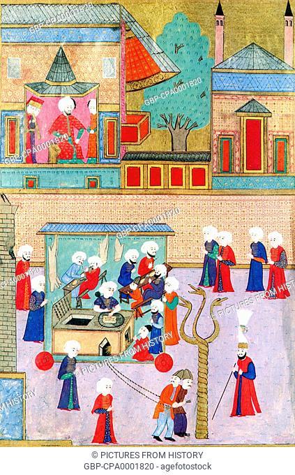 Turkey: Painting celebrating the circumcision of Ottoman Sultan Murat III's son Shezade Mehmet in 1582