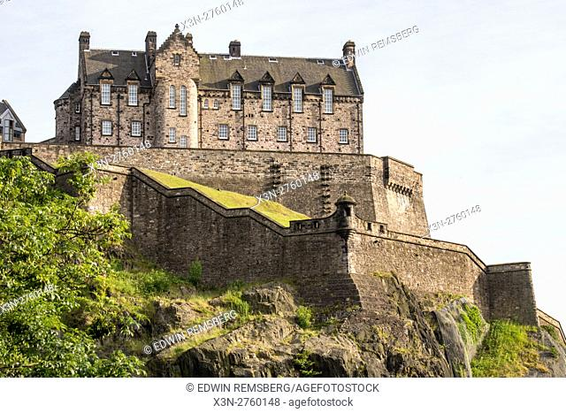UK, Scotland, Edinburgh - Edinburgh Castle is a historic fortress situated at the top of Castle Rock in Edinburgh, Scotland's compact, hilly capital