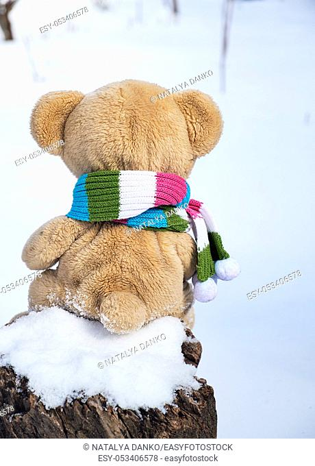 teddy bear in a scarf sits backwards on a stump in the middle of white snow on a winter day
