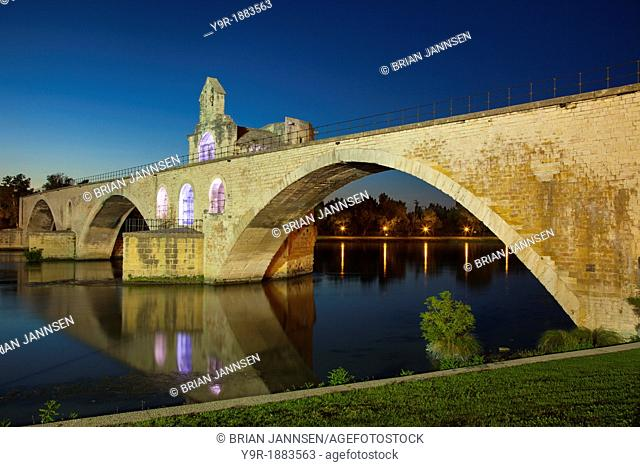 Pont Saint Benezet and Chapelle Saint Nicholas 12th C over River Rhone at Avignon, Bouches-du-Rhone, Provence France