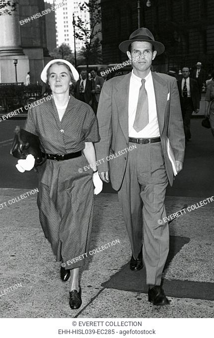 Mr. and Mrs. Alger Hiss arrive at Federal Court, NYC on July 6, 1949. The jury was deadlocked and Hiss was released on $5,000 bail and would face a second trial