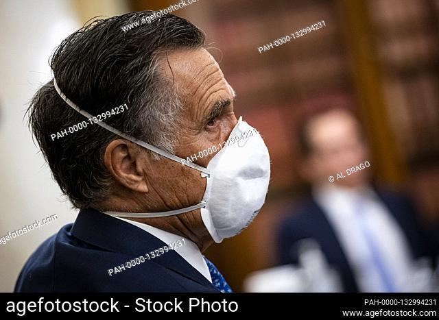 United States Senator Mitt Romney (Republican of Utah), listens during a Senate Small Business and Entrepreneurship Committee hearing in Washington, D