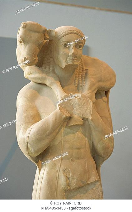 Statue of boy with goat in the Acropolis Museum, in Athens, Greece, Europe
