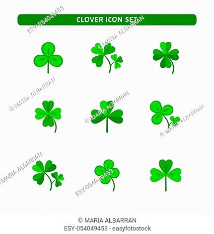 Nine Luck clover vector set isolated on white background. Four and three leaf clover. Flat illustration