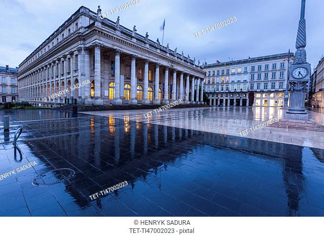 France, Nouvelle-Aquitaine, Bordeaux, Grand Theatre de Bordeaux at dusk