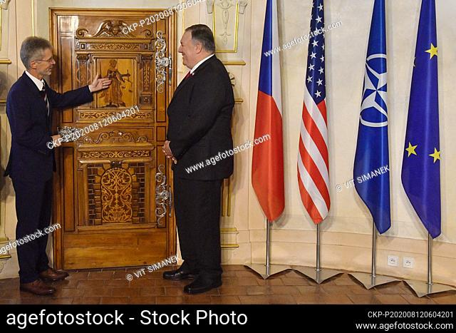 Czech Senate chairman Milos Vystrcil, left, meets with U.S. Secretary of State Mike Pompeo, right, prior to Senate session in Prague, Czech Republic