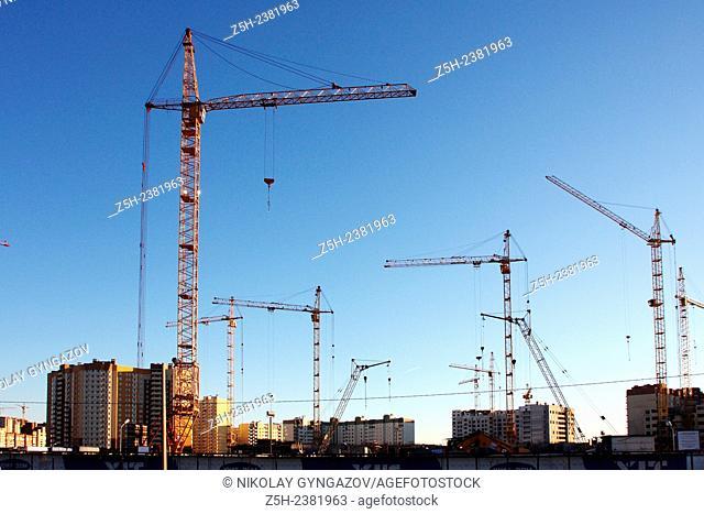 Construction site. Construction cranes
