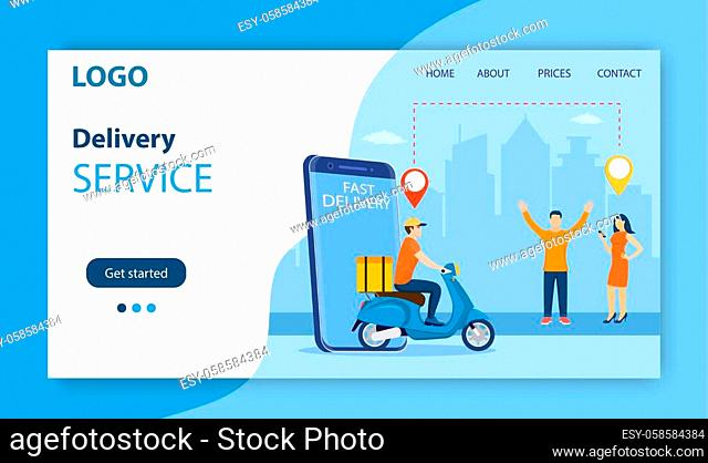 online delivery service concept. woman order food via smartphone. delivery home and office. bicycle courier. Landing page, template, mobile app, poster, banner