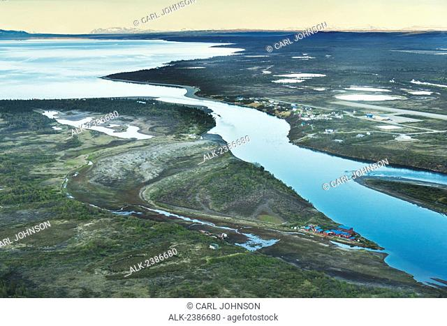 Aerial view of Lake Iliamna, the headwaters of the Kvichak River, and the village of Igiugig, Southwestern Alaska