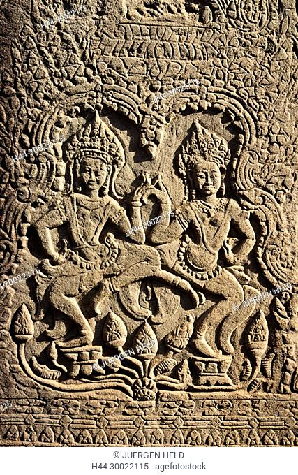 Relief with Aspara dancers at Angkor Wat Temple, Cambodia, Asia