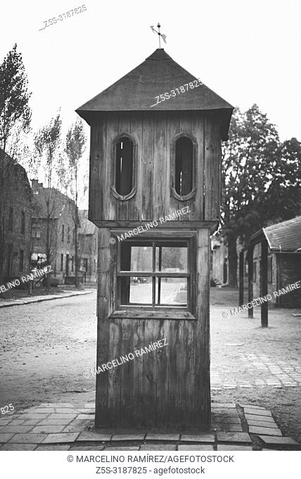 Auschwitz Nazi concentration and extermination camp. Booth where the SS made the count of the prisoners. Auschwitz, German-occupied, Poland, Europe