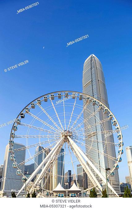 China, Hong Kong, Central, Hong Kong Observation Wheel and The International Finance Centre (IFC)
