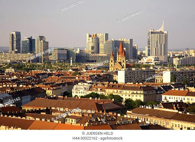 Vienna Austria view from Prater Big Wheel in the direction of Danube Island Uno city