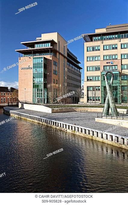Ireland, Dublin, Grand Canal Plaza, general view of office development and Grand Canal Basin