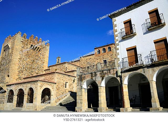 Plaza Mayor in Caceres, on left Bujaco Tower and Ermita de la Paz, steps leading to Arco de la Estrella - Arch of the Star, Old Town of Caceres